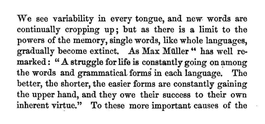 """Darwin on Müller on Schleicher: """"A struggle for life is constantly going on"""""""