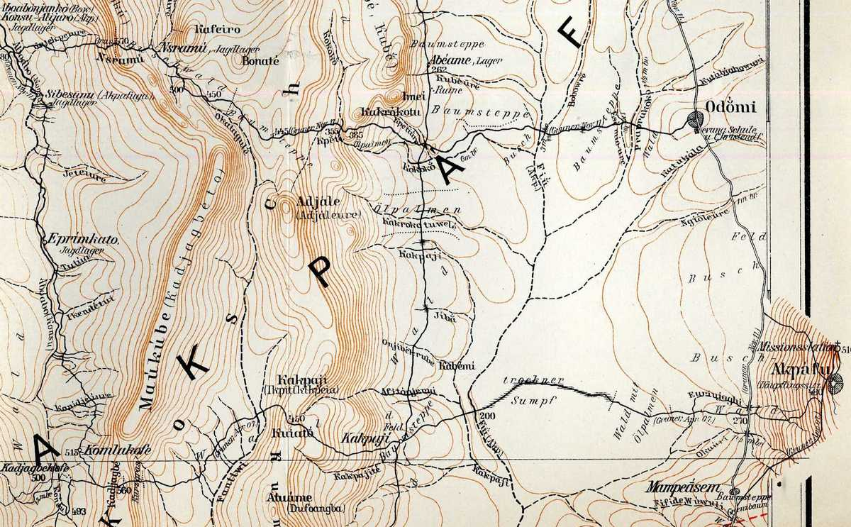 Part of Akpafu on a 1913 German map